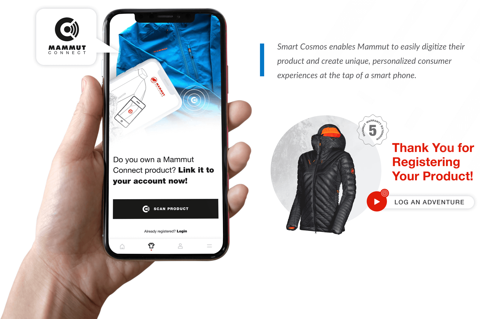 Smart Cosmos enables Mammut to easily digitize their product and create unique, personalized consumer experiences at the tap of a smart phone.